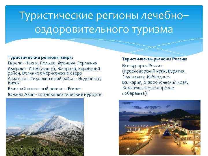 Туристические регионы лечебно– оздоровительного туризма Туристические регионы мира: Европа - Чехия, Польша, Франция, Германия