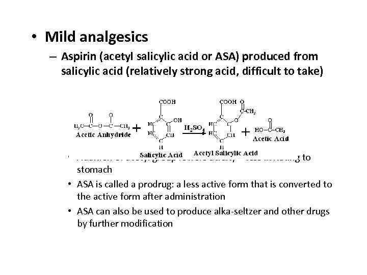 • Mild analgesics – Aspirin (acetyl salicylic acid or ASA) produced from salicylic