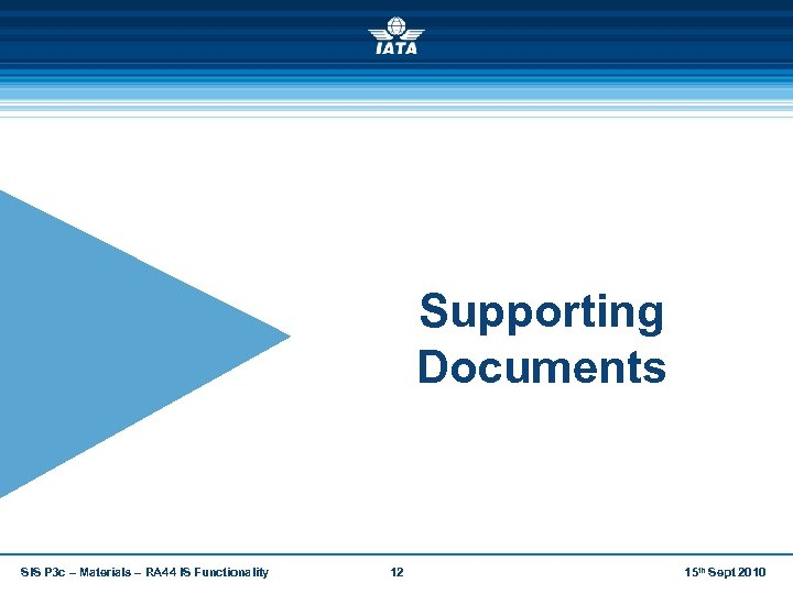 Supporting Documents SIS P 3 c – Materials – RA 44 IS Functionality 12