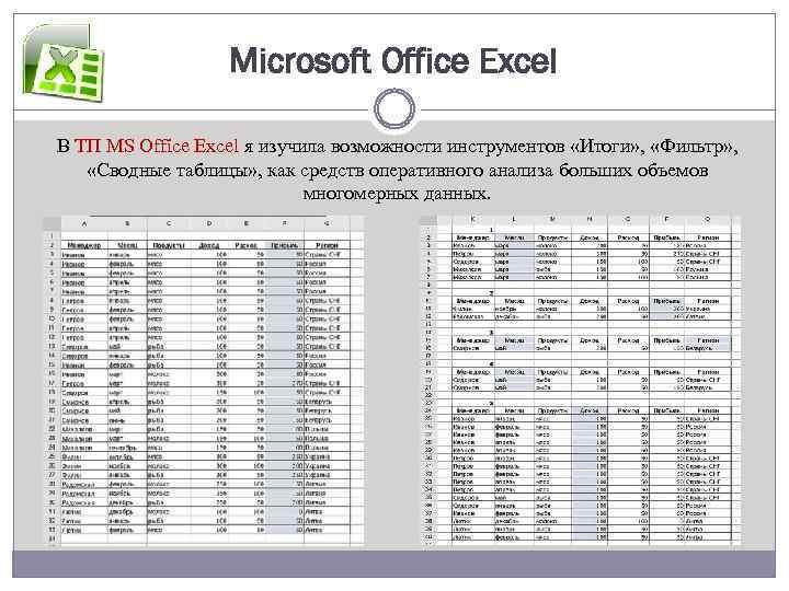 Microsoft Office Excel В ТП MS Office Excel я изучила возможности инструментов «Итоги» ,
