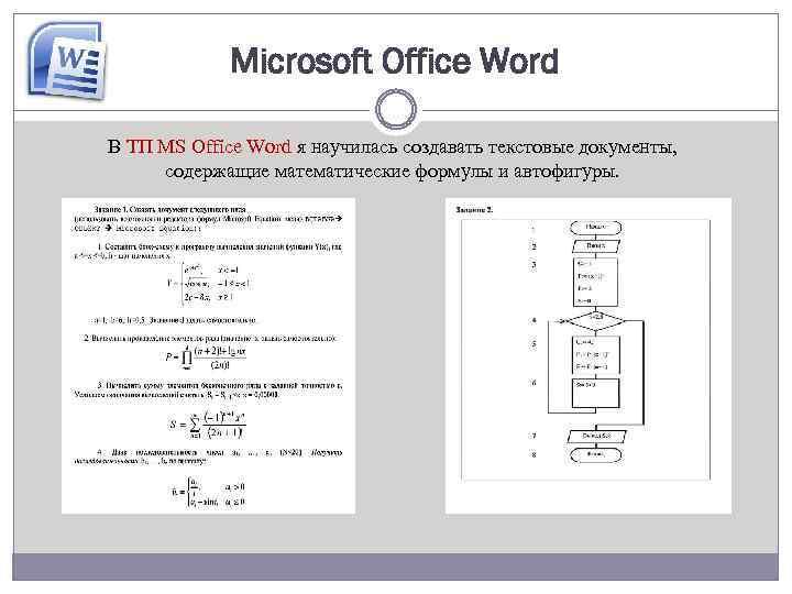 Microsoft Office Word В ТП MS Office Word я научилась создавать текстовые документы, содержащие