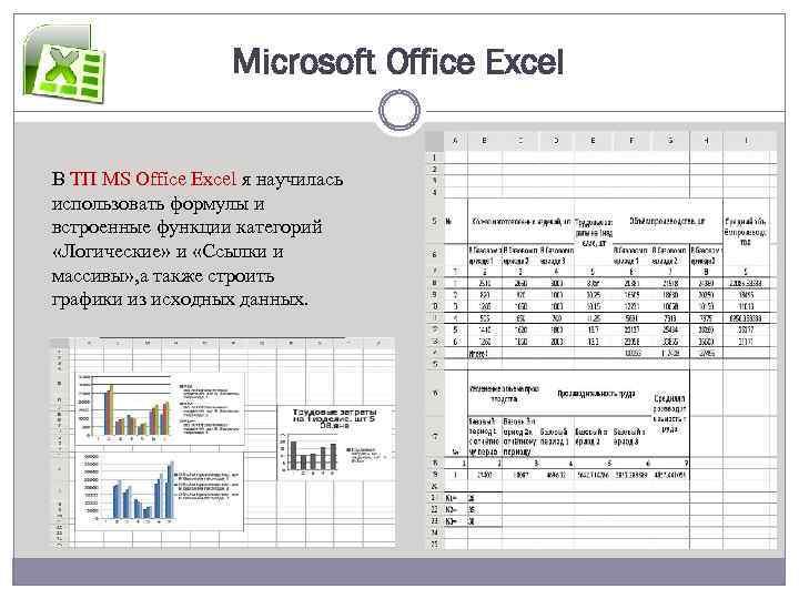 Microsoft Office Excel В ТП MS Office Excel я научилась использовать формулы и встроенные