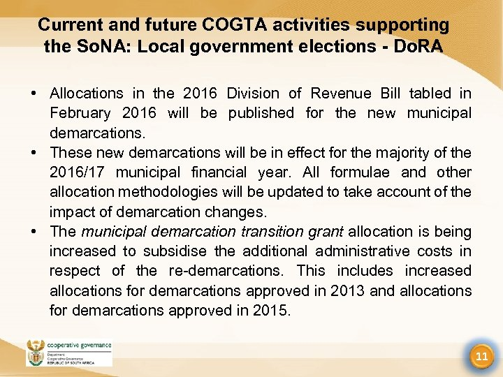 Current and future COGTA activities supporting the So. NA: Local government elections - Do.