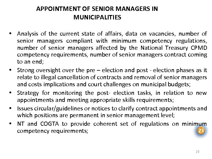 APPOINTMENT OF SENIOR MANAGERS IN MUNICIPALITIES • Analysis of the current state of affairs,