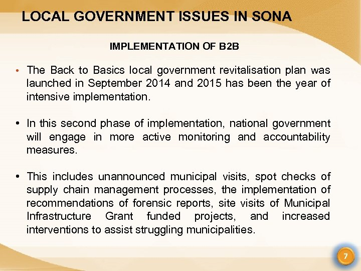 LOCAL GOVERNMENT ISSUES IN SONA IMPLEMENTATION OF B 2 B • The Back to