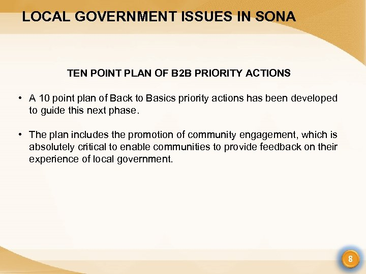 LOCAL GOVERNMENT ISSUES IN SONA TEN POINT PLAN OF B 2 B PRIORITY ACTIONS