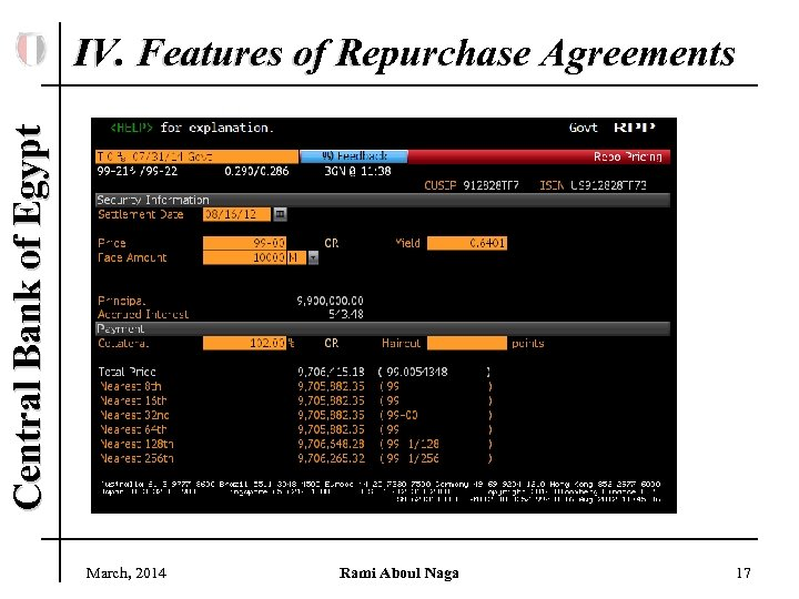 Central Bank of Egypt IV. Features of Repurchase Agreements March, 2014 Rami Aboul Naga