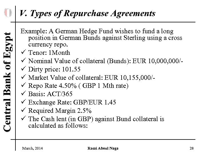 Central Bank of Egypt V. Types of Repurchase Agreements Example: A German Hedge Fund