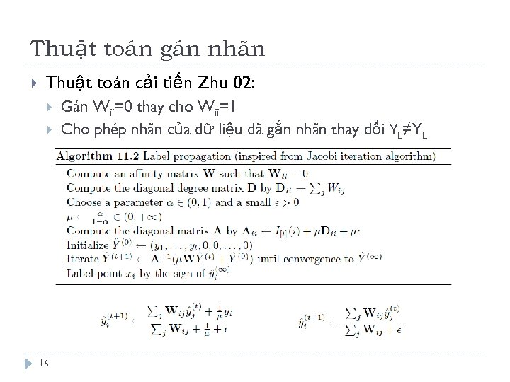 Thuật toán gán nhãn Thuật toán cải tiến Zhu 02: 16 Gán Wii=0 thay