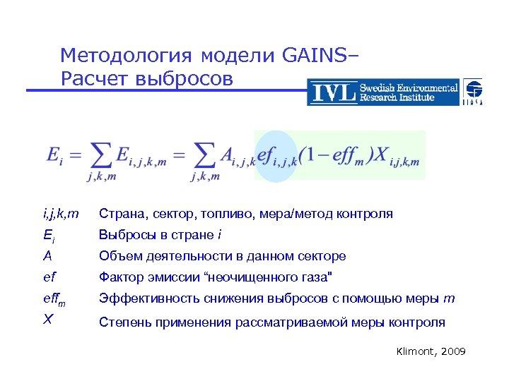 Методология модели GAINS– Расчет выбросов i, j, k, m Страна, сектор, топливо, мера/метод контроля
