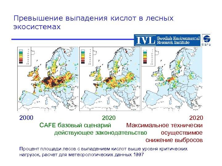 Превышение выпадения кислот в лесных экосистемах 2000 2020 CAFE базовый сценарий Максимальное технически действующее