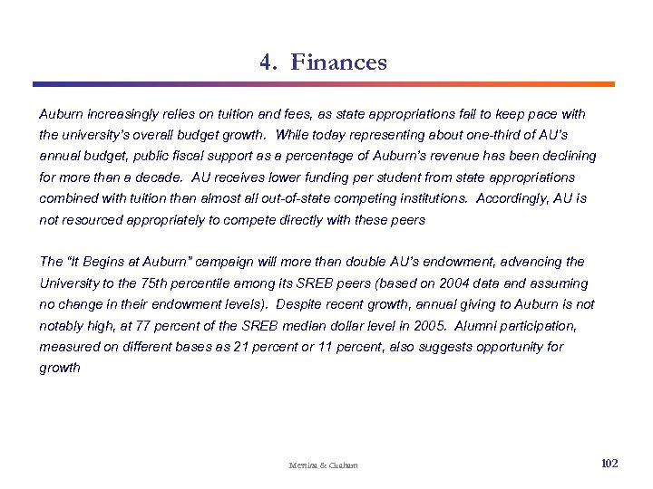 4. Finances Auburn increasingly relies on tuition and fees, as state appropriations fail to