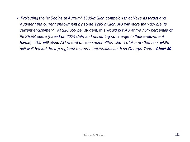"""• Projecting the """"It Begins at Auburn"""" $500 -million campaign to achieve its"""