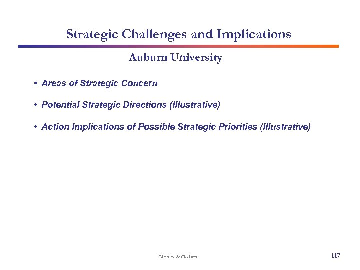 Strategic Challenges and Implications Auburn University • Areas of Strategic Concern • Potential Strategic