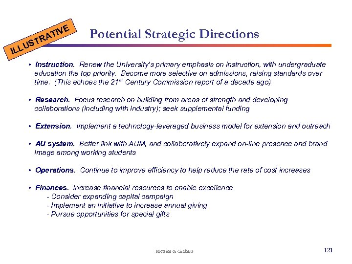 E U ILL ST IV AT R Potential Strategic Directions • Instruction. Renew the