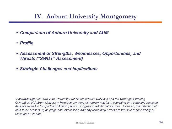 IV. Auburn University Montgomery • Comparison of Auburn University and AUM • Profile •