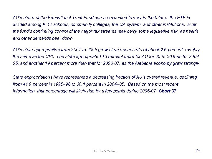 AU's share of the Educational Trust Fund can be expected to vary in the