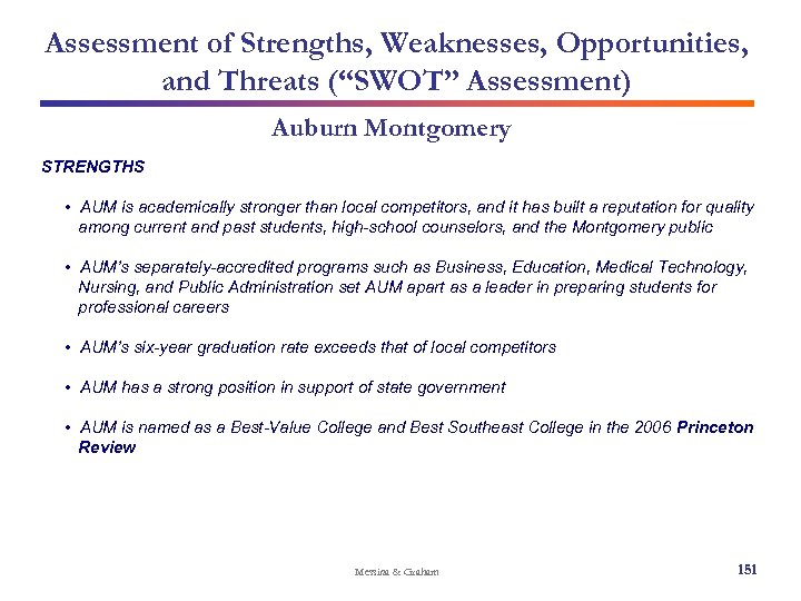"Assessment of Strengths, Weaknesses, Opportunities, and Threats (""SWOT"" Assessment) Auburn Montgomery STRENGTHS • AUM"