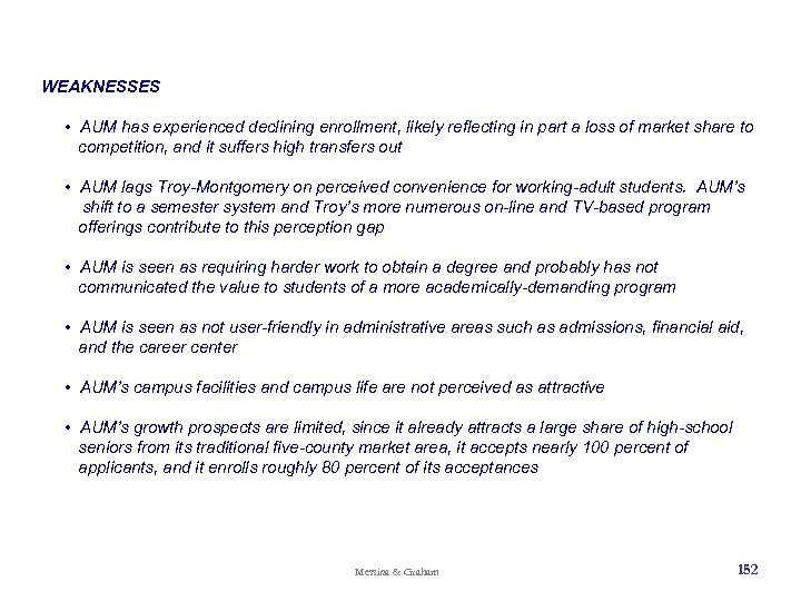 WEAKNESSES • AUM has experienced declining enrollment, likely reflecting in part a loss of