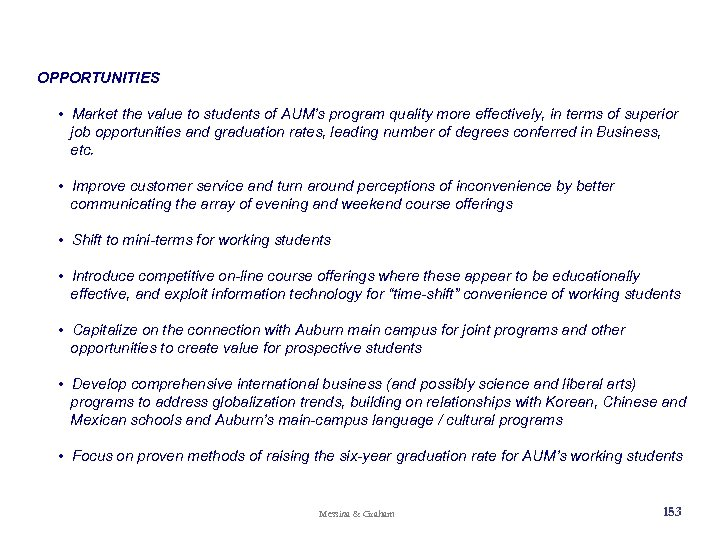 OPPORTUNITIES • Market the value to students of AUM's program quality more effectively, in
