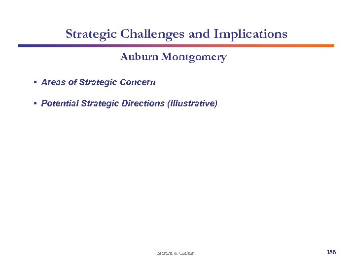 Strategic Challenges and Implications Auburn Montgomery • Areas of Strategic Concern • Potential Strategic