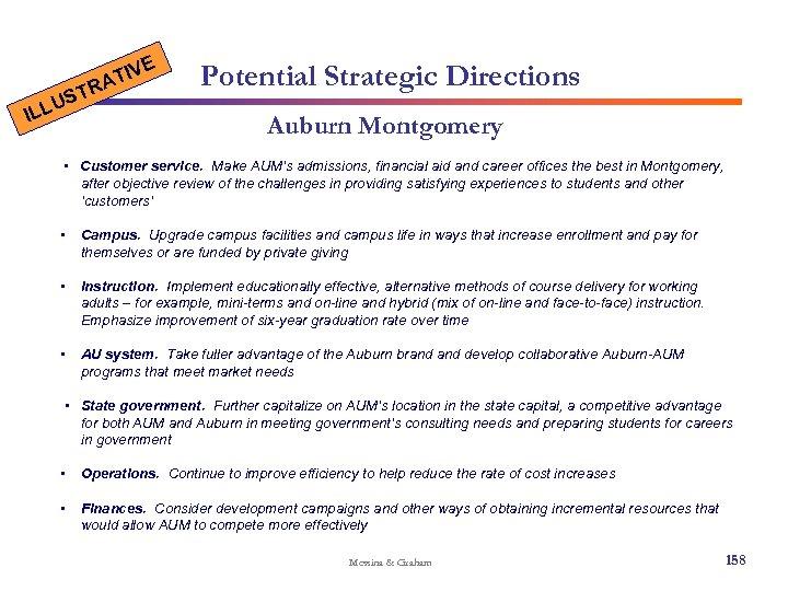 E U ILL IV AT R ST Potential Strategic Directions Auburn Montgomery • Customer