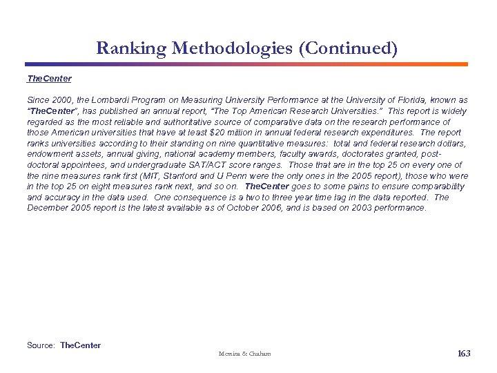 Ranking Methodologies (Continued) The. Center Since 2000, the Lombardi Program on Measuring University Performance