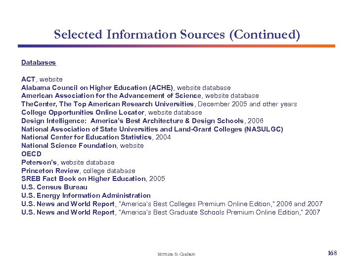 Selected Information Sources (Continued) Databases ACT, website Alabama Council on Higher Education (ACHE), website