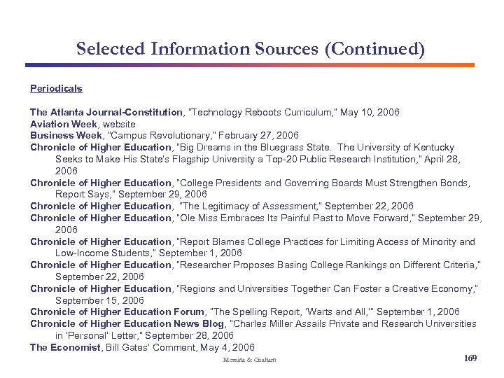 """Selected Information Sources (Continued) Periodicals The Atlanta Journal-Constitution, """"Technology Reboots Curriculum, """" May 10,"""