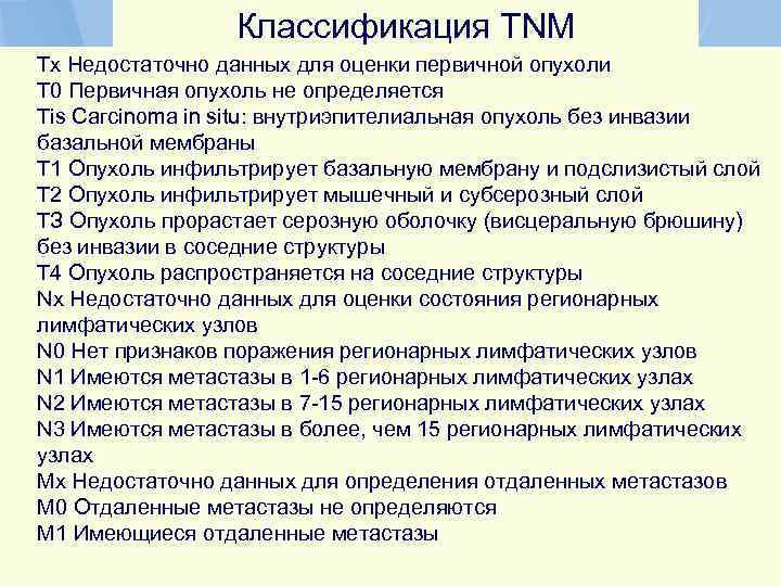 Классификация TNM Тx Недостаточно данных для оценки первичной опухоли Т 0 Первичная опухоль не
