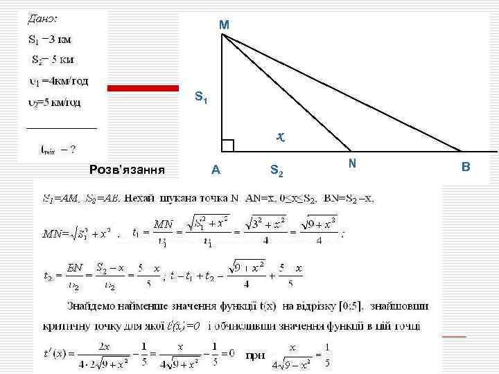 М S 1 x Розв'язання А S 2 N В