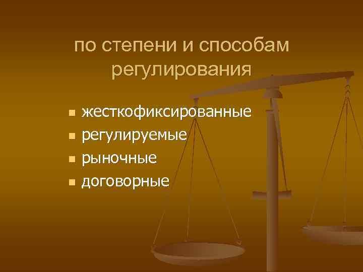по степени и способам регулирования n n жесткофиксированные регулируемые рыночные договорные