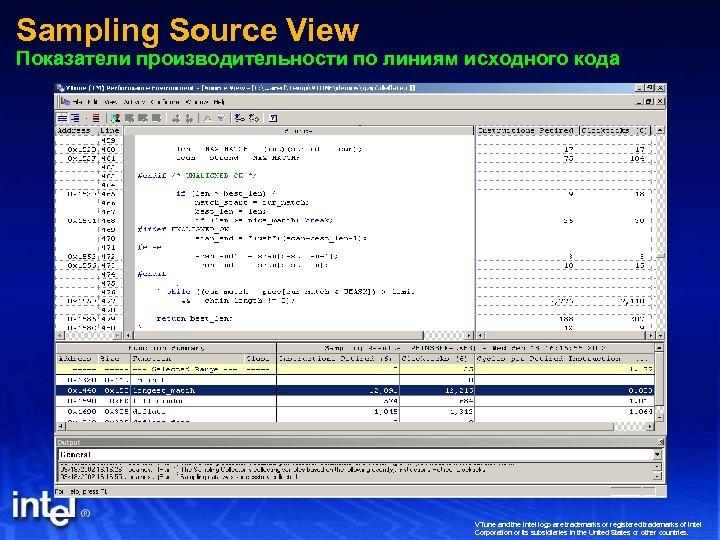 Sampling Source View Показатели производительности по линиям исходного кода VTune and the Intel logo