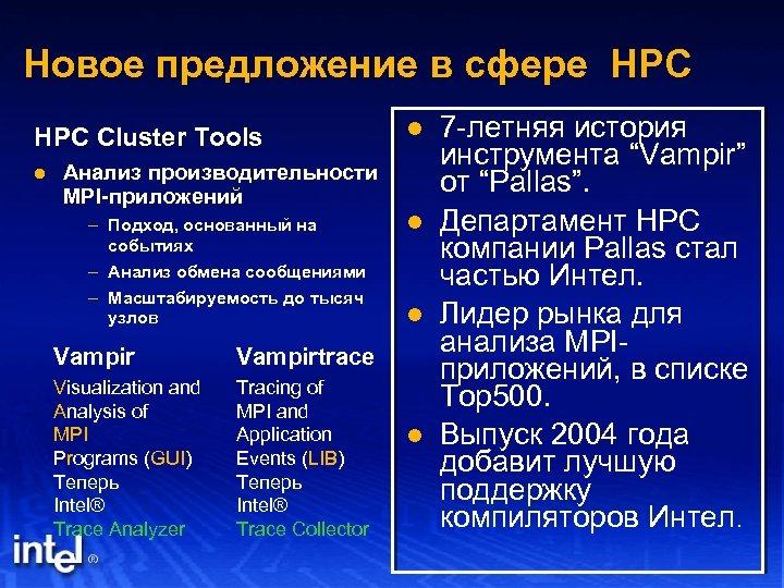 Новое предложение в сфере HPC Cluster Tools l Анализ производительности MPI-приложений – Подход, основанный