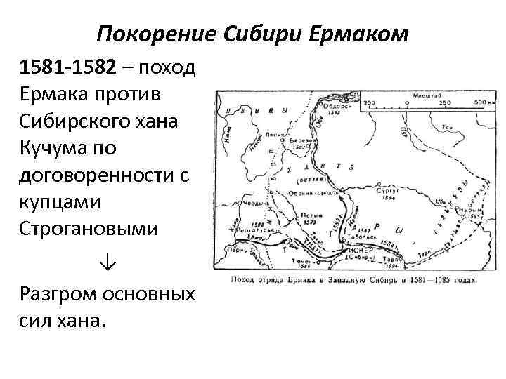 Покорение Сибири Ермаком 1581 -1582 – поход Ермака против Сибирского хана Кучума по договоренности