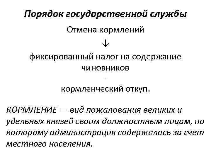 Порядок государственной службы Отмена кормлений ↓ фиксированный налог на содержание чиновников - кормленческий откуп.