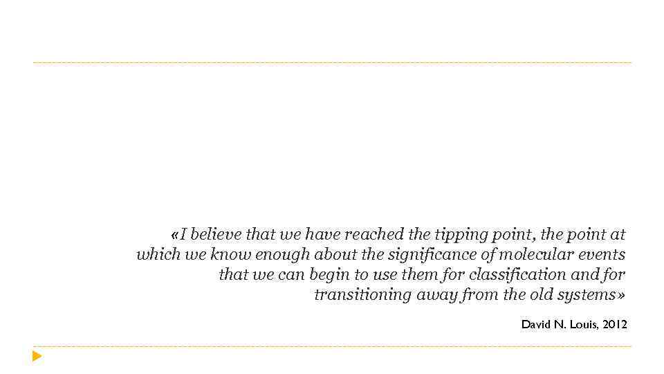 «I believe that we have reached the tipping point, the point at which