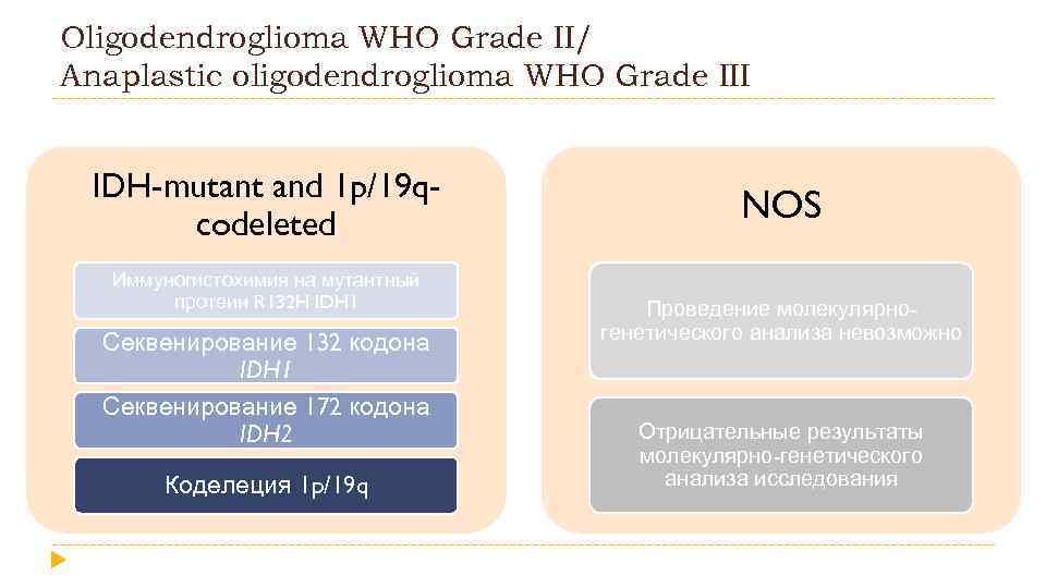 Oligodendroglioma WHO Grade II/ Anaplastic oligodendroglioma WHO Grade III IDH-mutant and 1 p/19 qcodeleted