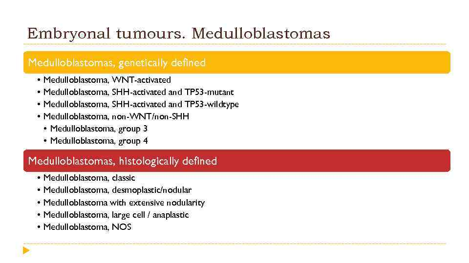 Embryonal tumours. Medulloblastomas, genetically defined • • Medulloblastoma, WNT-activated Medulloblastoma, SHH-activated and TP 53