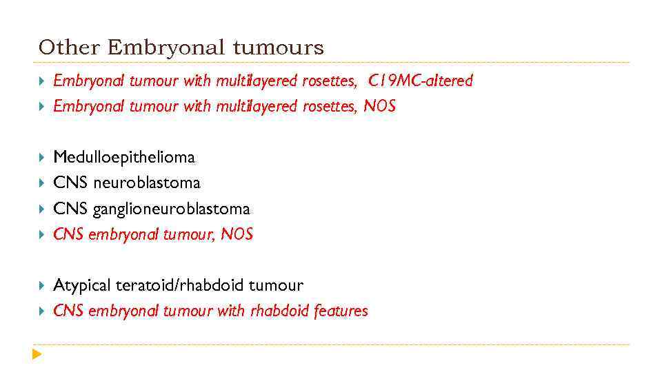 Other Embryonal tumours Embryonal tumour with multilayered rosettes, C 19 MC-a. Itered Embryonal tumour