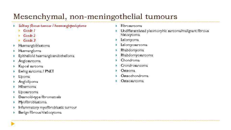 Mesenchymal, non-meningothelial tumours Solitary fibrous turnour / haemangiopericytoma Grade 1 Grade 2 Grade 3