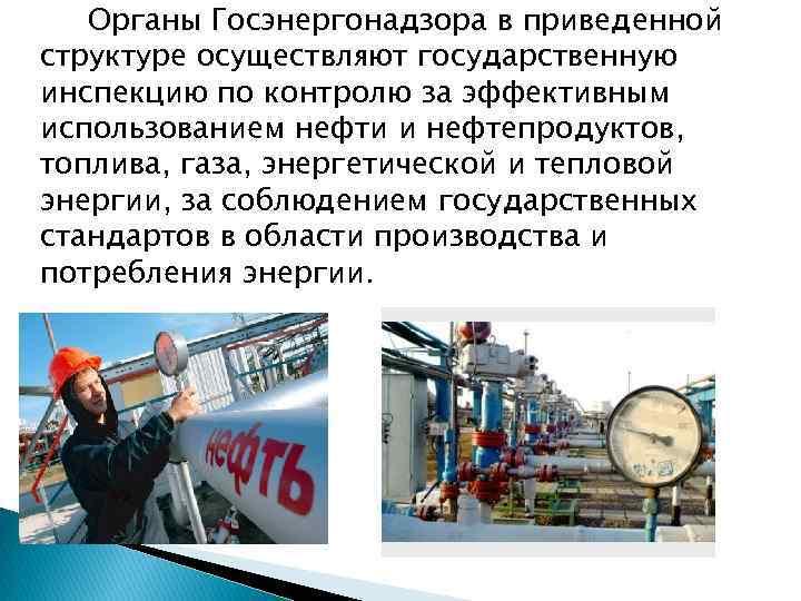 Органы Госэнергонадзора в приведенной структуре осуществляют государственную инспекцию по контролю за эффективным использованием нефти