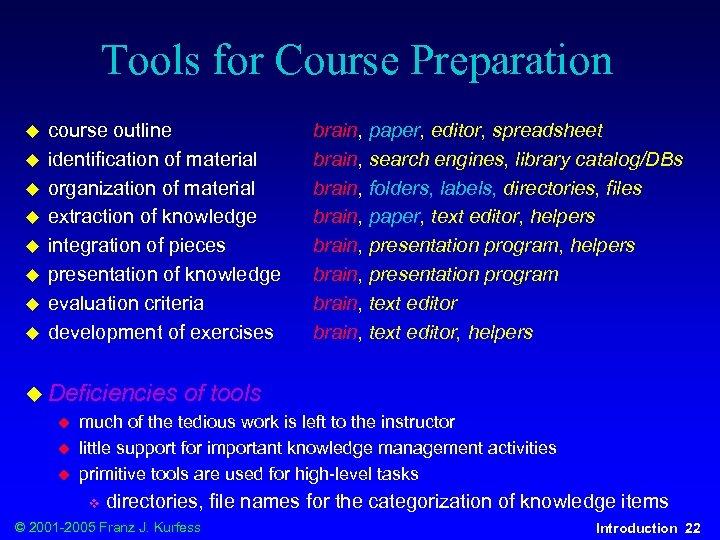 Tools for Course Preparation u u u u course outline identification of material organization