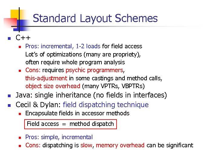 Standard Layout Schemes n C++ n n Pros: incremental, 1 -2 loads for field