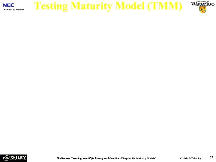 Testing Maturity Model (TMM) n Level 5 –Optimization, Defect Prevention and Quality Control: The