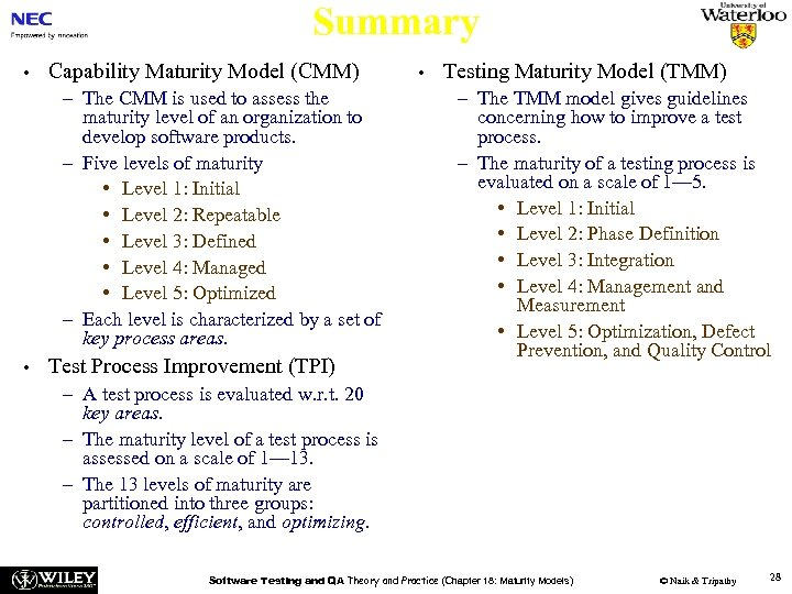 Summary • Capability Maturity Model (CMM) – The CMM is used to assess the