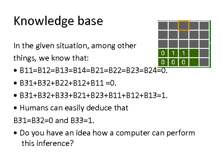Knowledge base In the given situation, among other things, we know that: • B