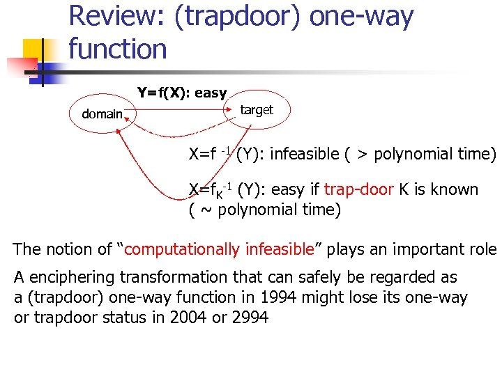 Review: (trapdoor) one-way function Y=f(X): easy target domain X=f -1 (Y): infeasible ( >