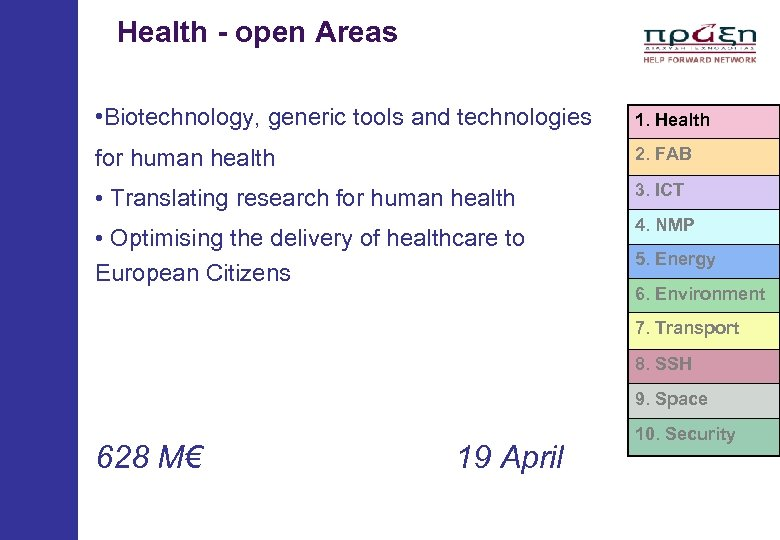 Health - open Areas • Biotechnology, generic tools and technologies 1. Health for
