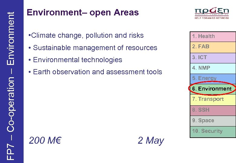 FP 7 – Co-operation – Environment– open Areas • Climate change, pollution and risks